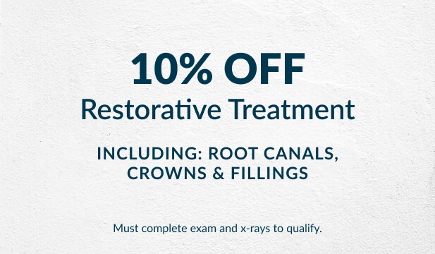 Advertisement of 10% off your restorative treatment.
