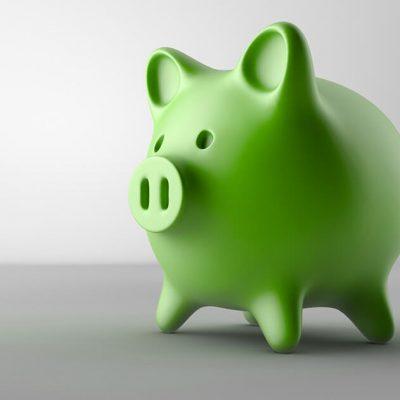 A green piggy bank.